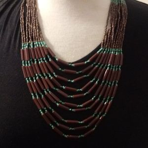 Native Look Blue Brown Beaded Necklace